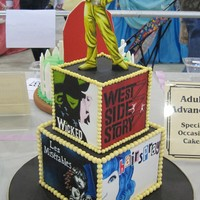 Broadway Cake 2nd Place, Adult Advanced, Special Occasion at OSSAS. Each side has a different Broadway Musical poster hand painted on gumpaste with food...