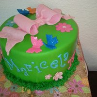 Flowers And Butterflies chocolate cake with chocolate ganache and raspberry filling