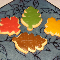 Autumn Leaf Cookies I made some spice sugar cookies with the Marshmallow Rolled Buttercream for Decorated Cookies recipe here on CakeCentral. Then I hand...