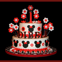 "Red Minnie Cake The mom decided to go with red Minnie to match her daughter's red and white polka dot dress for the party. 10"" and 6"" is..."