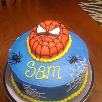 Spiderman Cake Buttercream with fondant covered Spidey head. Inspired by many CC cakers! Thanks for looking.