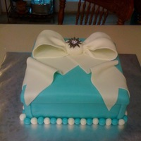 Tiffany Box White cake, buttercream filing and frosting and MMF decor