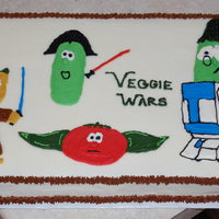 Veggie-Wars Cake I did this cake for a pair of cousins celebrating their birthdays together- a 2 year old girl who wanted Veggie Tales, and a 4 year old boy...