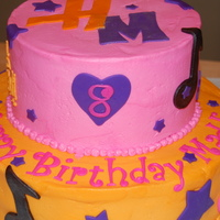 Hannah Montana Cake My 8-yr old daughter helped design this cake for her birthday. Buttercream frosted with fondant accents. TFL