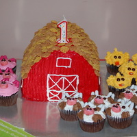 Barn Cake & Farm Animal Cupcakes This was for my nephew's 1st birthday. All buttercream frosted, with candy accents on cupcakes. TFL!