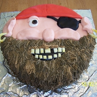 Pirate Cake I made this for my nephew's 5th b-day. I used a garlic press to make the beard with different shades of brown fondant.