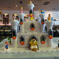 Bowser Castle Birthday Cake My son wanted a Bowser castle cake. My first time doing a castle kit.