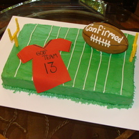 Football Confermation Cake This cake was for a confermation and her son was a football player. She wanted a football themed cake with a religous touch. I had a hard...