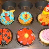 Cupcakes Fun cupcakes for practice. A lot of bc for a cupcake but they look cute. I am going to try in a whipped topping frosting and see if it...