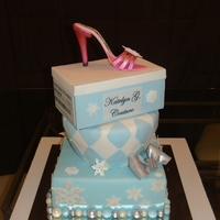 Shoe Box Cake This was for a sweet 16. They had a snowflake theme with blue and white as their colors. I love the way it came out. I had trouble with the...