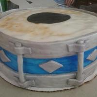 Blue Drum Cake cake with marshmellow fondant, and silver shimmer dust. My brothers a drummer and I made this for him for his 18th birthday.