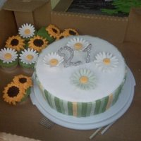 Flowers Birthday cake for a 21 year old girl who loves daisies and sunflowers. Inspired by the Twilight New Moon cake