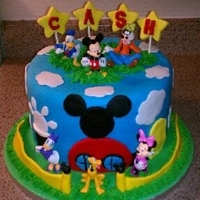 Mickey Mouse Cake Mickey mouse cake, 10' buttercream, coverned with fondant, love doine this cake, so fun!!!!