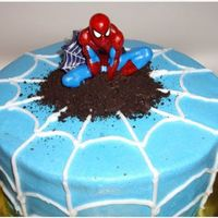 Spiderman Birthday Cake  Yellow cake w/ buttercream icing and oreo as the dirt. I made this cake for my son's birthday a few weeks ago. I almost forgot how fun...