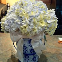 "Hydragenea Cupcakes Hydragenea Cupcake Bouquet - 5"" Styrofoam BallHeld about 30 mini cupcakes. Striped piping bag, with yellow, purple, and a hint of blue..."
