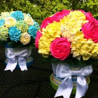 "Mothers Day Cupcake Bouquets My first ever cupcake bouquets. Hydragenea, Roses, and Carnations.6"" Styrofoam Ball, about 36 mini cupcakes per arrangement. So FUN to..."