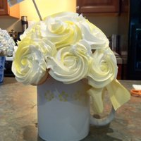 "Cupcake Mug Of Happiness Cupcake Bouquet - Made with coffee mug and 3"" styrofoam ball.Held about 15 mini cupcakes."