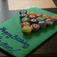 Pool Table Cupcakes Birthday cupcakes made to look like a game of pool.