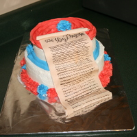 Constitution Cake A cake I made for my government class on Constitution Day. My government teacher was excited that he could eat the constitution.