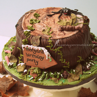 Woodland Tree Stump Chocolate cake with chocolate flavoured fondant and all fondant decorations. 100% edible :)