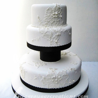 Lace Applique Wedding Cake Royal Iced piping to look like lace applique.