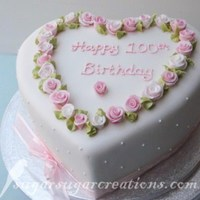 100Th Birthday Cake Vanilla sponge with raspberry preserve and very vanilla buttercream. Fondant coveredwith hand made roses and royal iced detailing. Thanks...