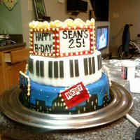 25Th Broadway Birthday Broadway themed birthday cake, vanilla cake dyed like a rainbow and top layer chocolate with chocolate ganache