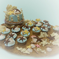 She Sells Seashells Ocean Beach theme cake and cupcakes for a nine-year old girl's swimming birthday party