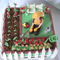 Vegetable Garden Woman gardening, peas, onions, flowers, gumpaste bench, hose, flower pots, gardeing tools, tomatoes, roses