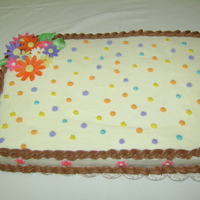 "Sheet Cake This was my first attempt at making a ""large"" sheet cake (12 x 18). I used buttercream icing and gumpaste flowers. (I made two..."