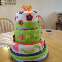 My First Tier Cake Three tier cake for my niece's birthday. I also tried to use wires to hold up the stars. It was a lot of work and I STILL need alot of...