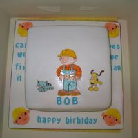 Bob The Builder This was done for a lttle boy who never missed an episode of Bob the builder,so I hand painted Bob and his friends on to the cake.