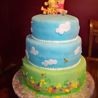 Sweet Winnie The Pooh Baby Shower Cake 3 tiered cakes covered with fondant & buttercream