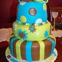Daughter's 13Th Birthday Party tiered fondant cakes w/ my daughter's favorite colors :)