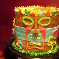 Tiki 2 tiered covered in fondant