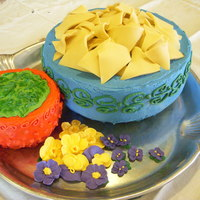 Tortilla Chips And Guacamole The bowls are vanilla cake with buttercream icing. The chips are modeling clay, the guac is BC and the flowers are royal. It was for a...