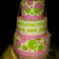 "Pink & Lime Bridal Shower  10"", 8"" & 6"" Chocolate & White Cake layers with buttercream filling. Covered in Marshmallow Fondant with Gumpaste..."