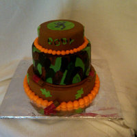 "Camo Cake   Camo cake made with chocolate cake and marshmallow fondant, along with buttercream. 10"", 8"" & 6"" rounds"