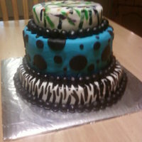 "Sweet 16  Made his for my sister-in-law's Sweet 16 birthday. She had some great ideas, zebra, ""electric"" blue with black dots,..."