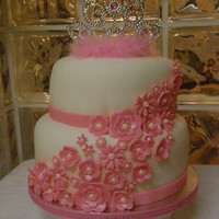 Princess Flower Fondant covered cake with fondant and buttercream details. Thanks for looking!
