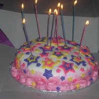 Stars This was my first all fondant cake made for my niece's 10th bday. Designed after the image on the wilton contoured cake box. Pink,...