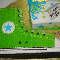 Converse Shoe My daughter saw this cake in a magazine and fell in love with it. I made it for her 13th birthday. Red Velvet cake with BC icing, on top of...