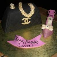 Chanel Purse Cake and Shoe fondant. Used the diamond impression mat for the purse. Thank you for all the inspiration!