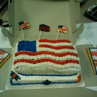 Happy Labor Day Cake (Flag Cake) Choc fudge cake on top layer and yellow almond on the bottom layer. Red, White, & Blue all B/C. Also made white/milk choc flag &...