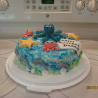 Sea Creatures  This was a fun cake I did in a few hours for my husbands birthday. I had left over fondant in a few colors and made small amounts of others...