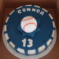 Yankees Birthday 13 year old Yankee fan. Vanilla cake covered in mmf.