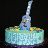 Hannah Montana Guitar Cake Fondant, buttercream, rice crispy treat