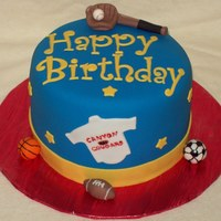 Sports Cake fondant covered, fondant decoration