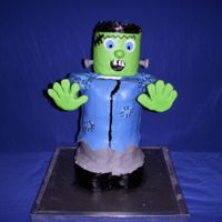 Frankenstein Birthday cake for a boy around halloween time. Vanilla with buttercream and marshmallow fondant.
