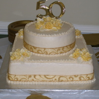 50Th Annv. Cake Vanilla layers w/ ButterCream Icing & Gum Paste Roses & Leaves